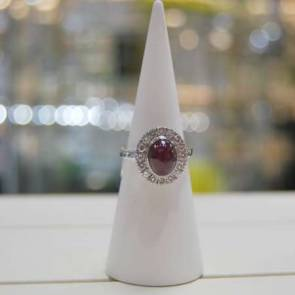 18ct White Gold Diamond & Ruby Cabachon Cluster Ring