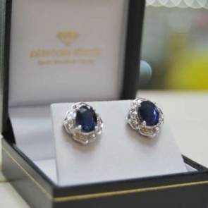 9ct White Gold Diamond & Sapphire Cluster Earrings