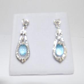 Secondhand Vintage 18ct Blue Topaz & Diamond Earrings