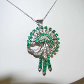 Secondhand Emerald & Diamond Pendant