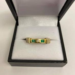 Secondhand 18ct Gold Emerald & Diamond Ring