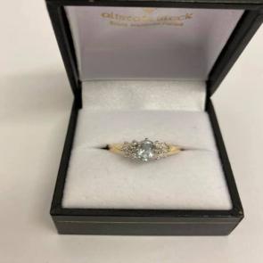 Secondhand 9ct Gold Aquamarine & Diamond Cluster Ring
