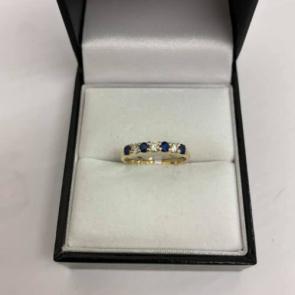 Secondhand 9ct Gold Diamond & Sapphire Eternity Ring