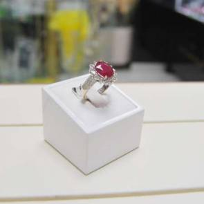 18ct Gold Ruby & Diamond Cluster Ring