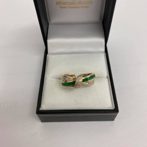 Secondhand 9ct Gold Diamond & Emerald Cross Over Ring