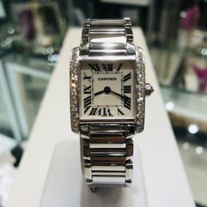 Pre- owned Cartier Tank Francais Diamond set watch