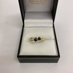 Secondhand 18ct Gold Sapphire & Diamond Fancy Ring