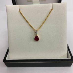 Secondhand 18ct Gold Ruby & Diamond Pendant