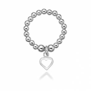 Dollie Annabelle Silver Heart Ring - R0004