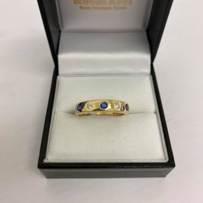 Secondhand 18ct Gold Diamond & Sapphire Band Ring