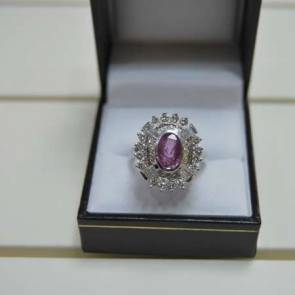 9ct White Gold Diamond & Pink Sapphire Cluster Dress Ring