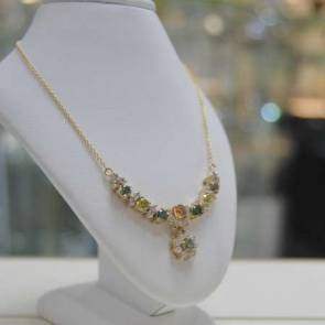 Multi-coloured Diamond Necklet
