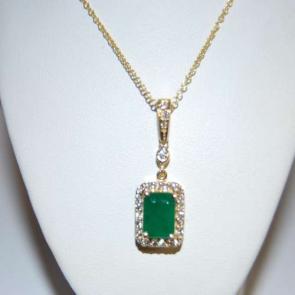 Secondhand 14ct Gold Emerald & Diamond Pendant