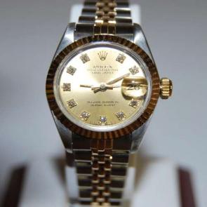 Pre-owned Ladies 18ct & steel Diamond Rolex