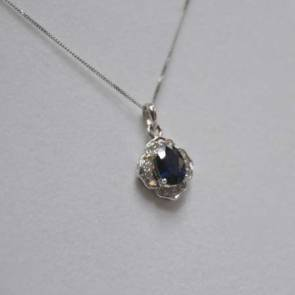 9ct White Gold Diamond & Sapphire Cluster Pendant