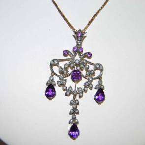 Secondhand Amethyst & Seed Pearl Pendant