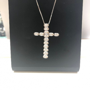 18ct White Gold Diamond Set Cross Pendant & Chain