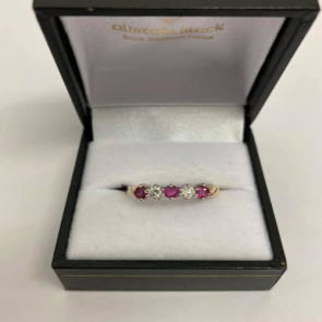 Secondhand 9ct Gold Ruby & Diamond Half Eternity Ring