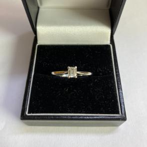 Secondhand Platinum Emerald Cut Diamond Ring