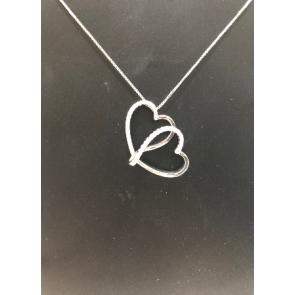 18ct White Gold Diamond Heart Pendant & Chain