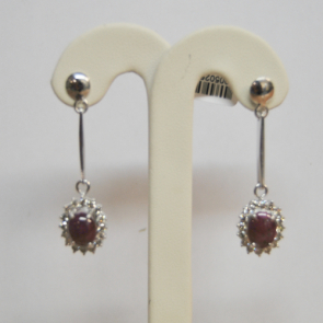 Secondhand 9ct Gold Star Ruby & Diamond Earrings