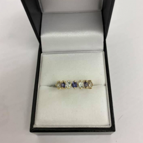 Secondhand 9ct Gold White & Blue Stone Ring